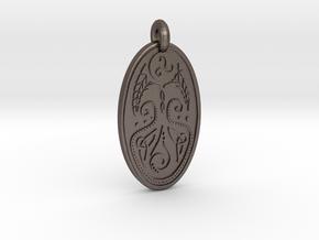 Cerridwen - Oval Pendant in Polished Bronzed-Silver Steel