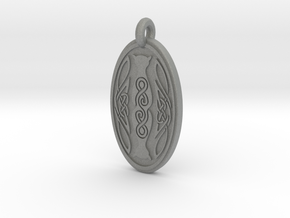 Cat - Oval Pendant in Gray PA12