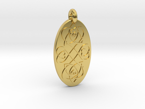 Heart - Oval Pendant in Polished Brass