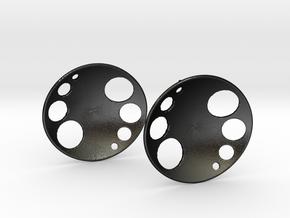 Luna Stud Earrings in Matte Black Steel