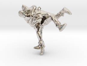 Swiss wrestling - 60mm high in Rhodium Plated Brass