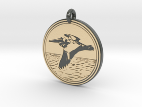 Brown Pelican Animal Totem Pendant in Glossy Full Color Sandstone