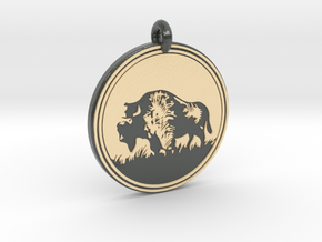 Buffalo Animal Totem Pendant 2 in Glossy Full Color Sandstone