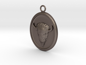 Buffalo Pendant Necklace in Polished Bronzed-Silver Steel