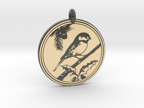 Chickadee Animal Totem Pendant in Glossy Full Color Sandstone