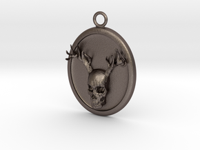 Antler Skull Necklace in Polished Bronzed-Silver Steel
