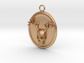 Antler Skull Necklace in Natural Bronze