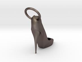 Left Foot Heel Earring in Polished Bronzed-Silver Steel