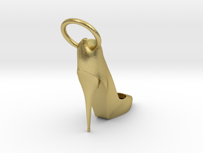 Left Foot Heel Earring in Natural Brass
