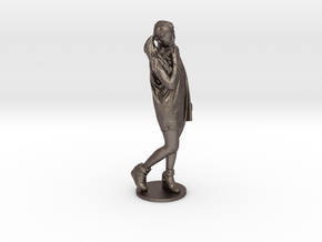Scanned pretty Girl - 6CM High in Polished Bronzed-Silver Steel