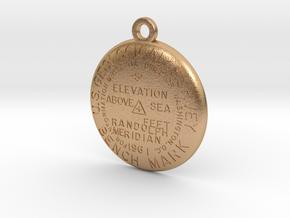 USGS BM RANDOLPH MERIDIAN Keychain in Natural Bronze