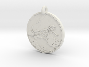 Collared Lizard Animal Totem Pendant  in White Natural Versatile Plastic