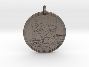 Cougar Animal Totem Pendant in Polished Bronzed-Silver Steel