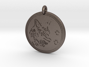 Coyote Animal Totem Pendant  in Polished Bronzed-Silver Steel