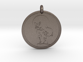 Cougar Animal Totem Pendant 2 in Polished Bronzed-Silver Steel