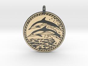 Dolphin Animal Totem Pendant in Glossy Full Color Sandstone
