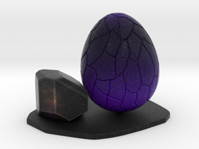 Purple dragon egg scene 1 (1 rock vrsion) ornament in Natural Full Color Sandstone