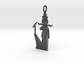 Khnum / Herishef amulet in Polished and Bronzed Black Steel