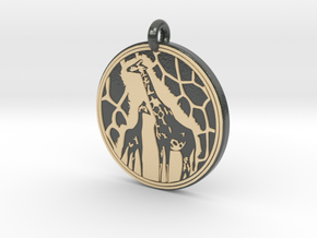 Giraffe Animal Totem Pendant in Glossy Full Color Sandstone