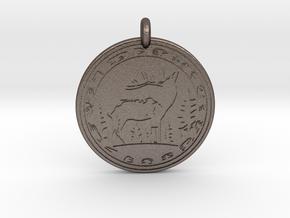 Elk Animal Totem Pendant in Polished Bronzed-Silver Steel