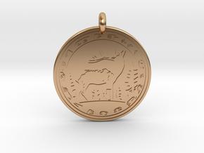 Elk Animal Totem Pendant in Polished Bronze