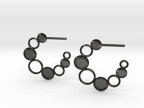 Bubbles and Discs Hoop Earrings in Matte Black Steel