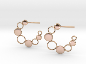 Bubbles and Discs Hoop Earrings in 14k Rose Gold Plated Brass