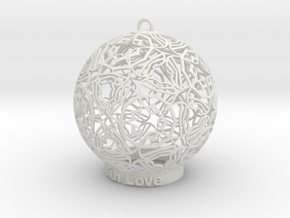 With Love Ornament in White Natural Versatile Plastic