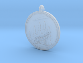 Grey Wolf Animal Totem  Pendant in Smooth Fine Detail Plastic