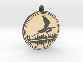 Great Blue Heron Animal Toten Pendant in Glossy Full Color Sandstone