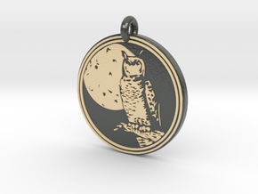 Great Horned Owl Animal Totem Pendant in Glossy Full Color Sandstone