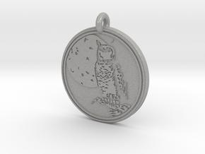 Great Horned Owl Animal Totem Pendant in Aluminum