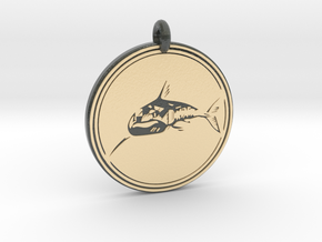 Great White Shark Animal Totem Pendant in Glossy Full Color Sandstone