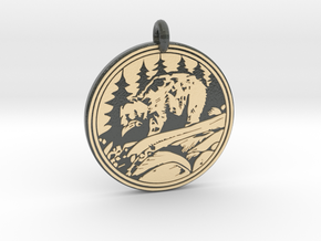 Grizzly Bear Animal Totem Pendant in Glossy Full Color Sandstone