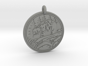 Grizzly Bear Animal Totem Pendant in Gray PA12