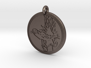Harbor Seal Animal Totem Pendant in Polished Bronzed-Silver Steel