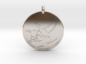 Humming bird Animal Totem Pendant in Platinum