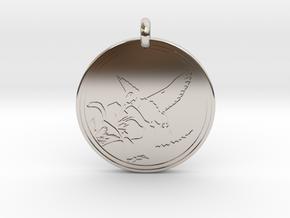 Humming bird Animal Totem Pendant in Rhodium Plated Brass