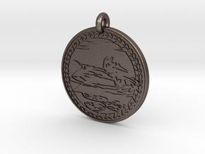 Mallard Duck Animal Totem Pendant in Polished Bronzed-Silver Steel