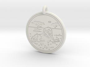 Lion Animal Totem Pendant in White Natural Versatile Plastic