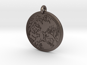 Lioness Animal Totem Pendant in Polished Bronzed-Silver Steel