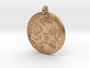 Lioness Animal Totem Pendant in Polished Bronze