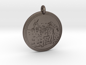 Llama Animal Totem Pendant in Polished Bronzed-Silver Steel