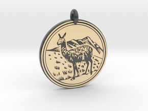 Llama Animal Totem Pendant in Glossy Full Color Sandstone