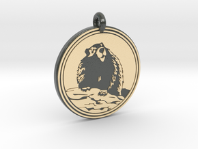 Marmot Animal Totem Pendant in Glossy Full Color Sandstone