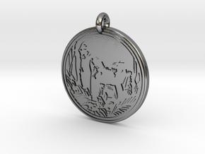 Mountain Gorilla Animal Totem Pendant in Polished Silver