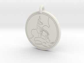 Pronghorn Antelope Animal Totem Pendant in White Natural Versatile Plastic