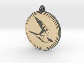 Peregrine Falcon Animal Totem Pendant in Glossy Full Color Sandstone