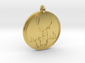 Mule Deer Animal Totem Pendant in Polished Brass