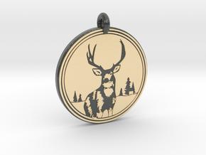 Mule Deer Animal Totem Pendant in Glossy Full Color Sandstone
